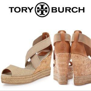 Tory Burch Peep-Toe Cork Wedge